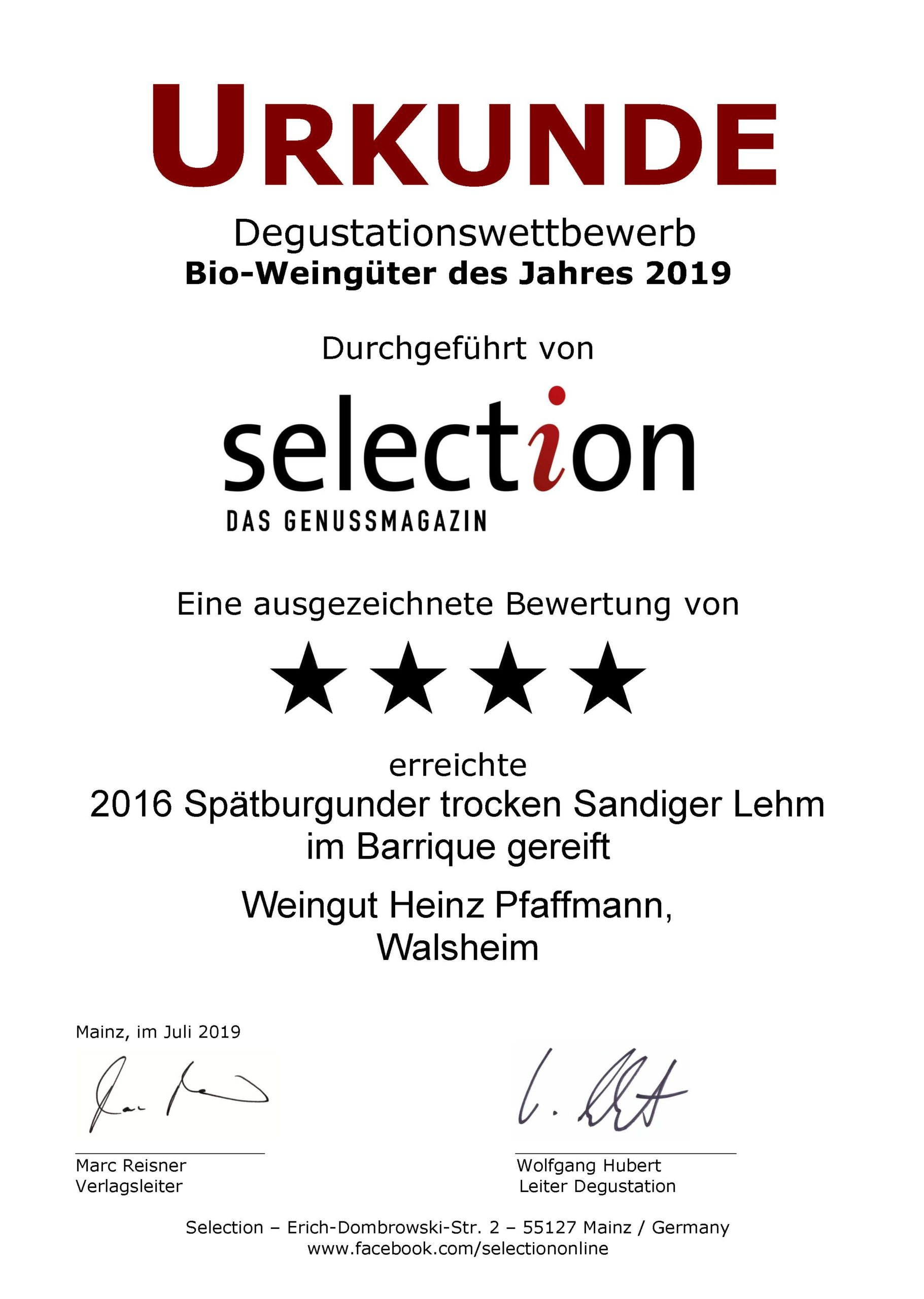 Selection Weingenuss Magazin 4 Sterne